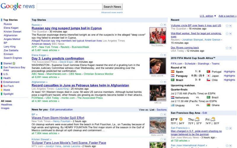 Google News Redesign June 30 2010 AM PT