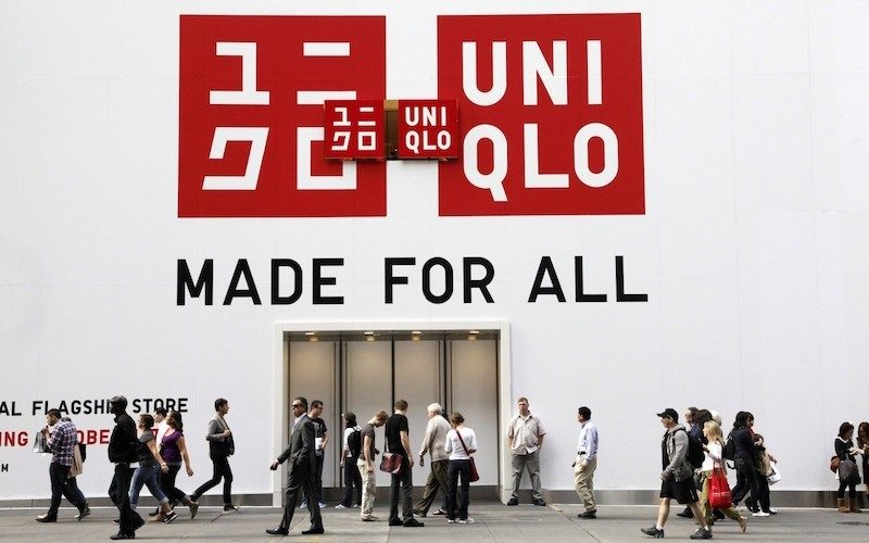 A sign for Uniqlo is shown on its store, Tuesday, Oct. 11, 2011 in New York.  The Japanese retailer is opening a Fifth Avenue flagship store, Friday, Oct. 14. (AP Photo/Mark Lennihan)